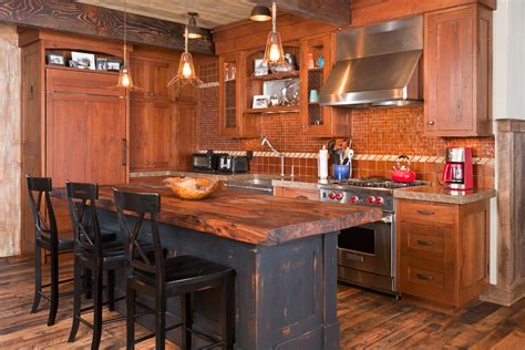 Movable Island Kitchen by Rustic Wood Countertops Kitchen Rustic With Beige Wall