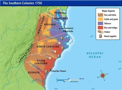 southern colonies map us history maps