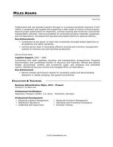 Sample Military Resume Careerperfect 174 Logistics Resume After