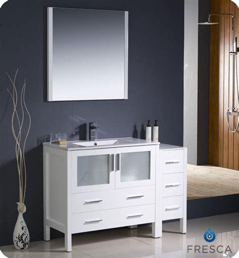 modern white bathroom vanities fresca torino 48 quot white modern bathroom vanity w side