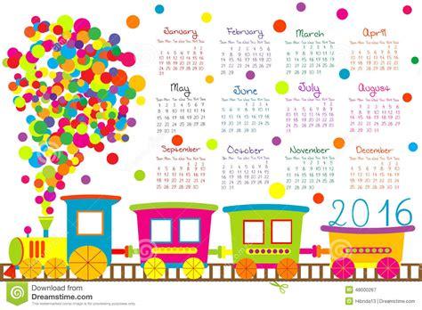 printable calendar 2016 cartoon 2016 calendar with cartoon train for kids stock vector