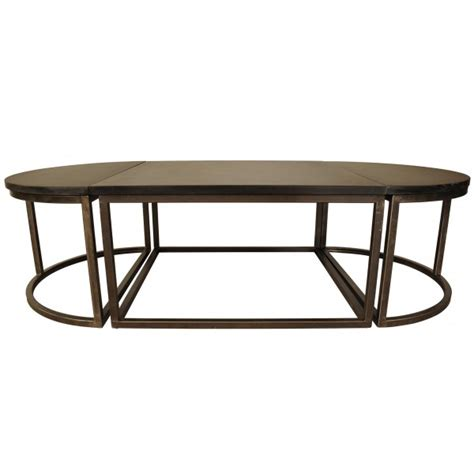 Noir Oval Stone Metal Coffee Table Noir Furniture Coffee Table