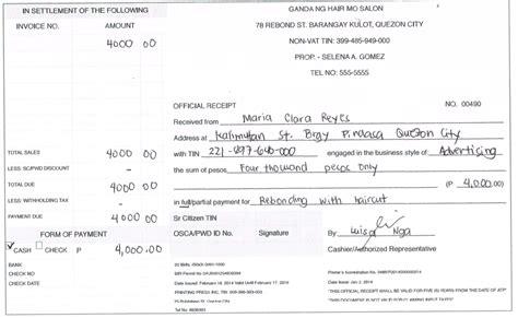 sample of official receipt sample official receipt sample receipt of