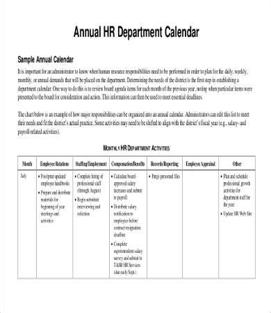 hr calendar template annual calendar template 9 free pdf documents