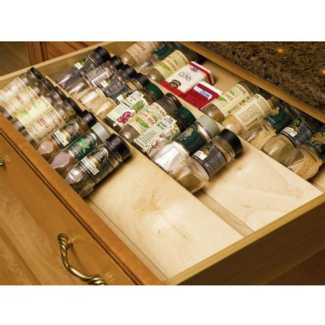 kitchen cabinet spice organizer wood spice drawer insert by omega national kitchensource com