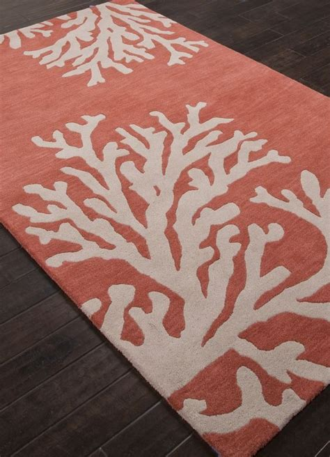 Coral Color Bathroom Rugs by Coastal Seaside Coral Rug Apricot And Beige Target I