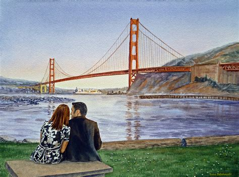 golden gate bridge san francisco two birds painting by irina sztukowski
