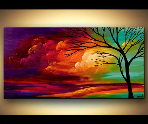 landscape painting abstract landscape colorful sunset