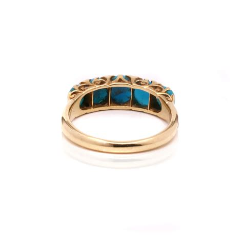 era antique turquoise and ring in 18ct gold