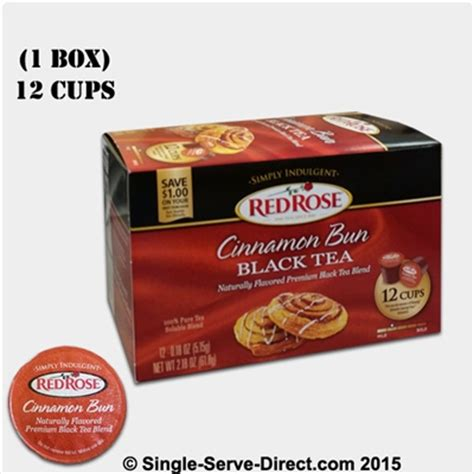 Red Rose Cinnamon Bun Black Tea K cups