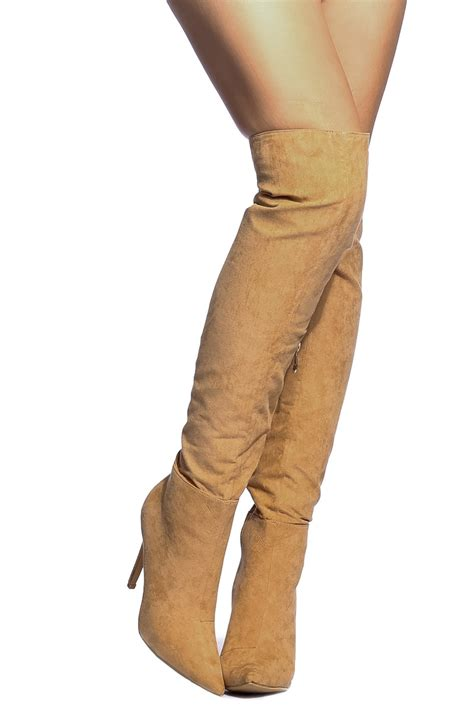 faux suede pointed toe knee high boots cicihot boots