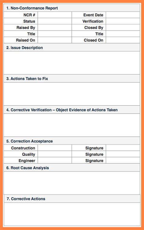 7 quality non conformance report template progress report