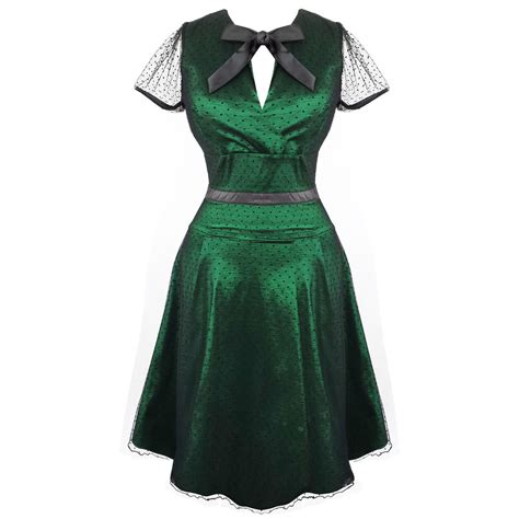 womens green vintage dress 50s style cocktail prom