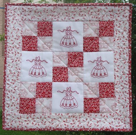 Redwork Quilt by Doll Quilt 3 Redwork Quilts