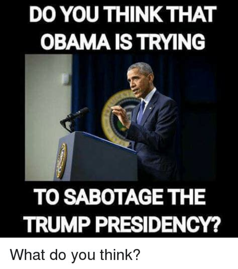 What Do You Think Meme - do you think that obama is trying to sabotage the trump