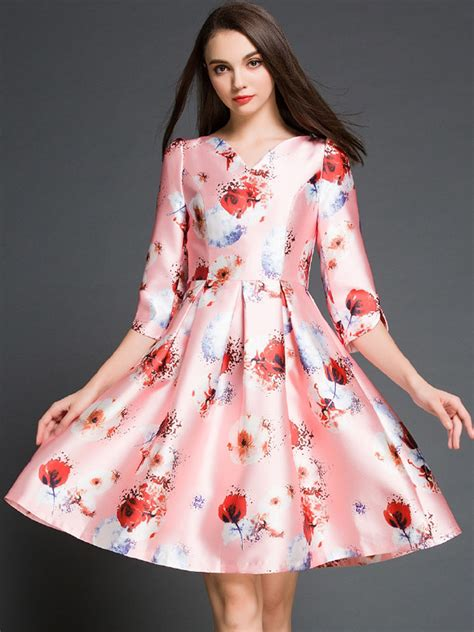 Dress Midi Vb Flower pink floral print v neck half sleeve skater midi dress