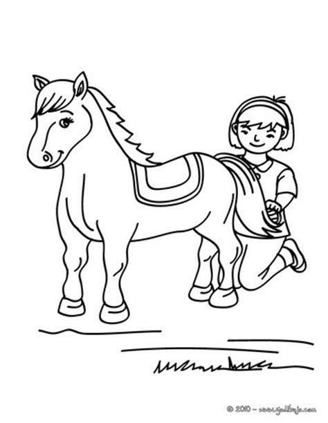 coloring page girl riding horse girl brushing her horse coloring pages hellokids com