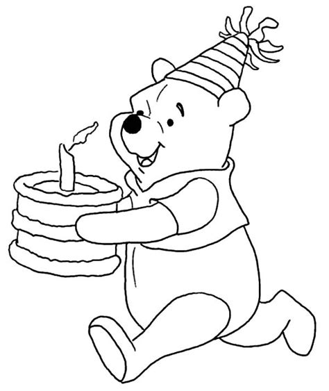 disney winnie the pooh running with birthday cake coloring