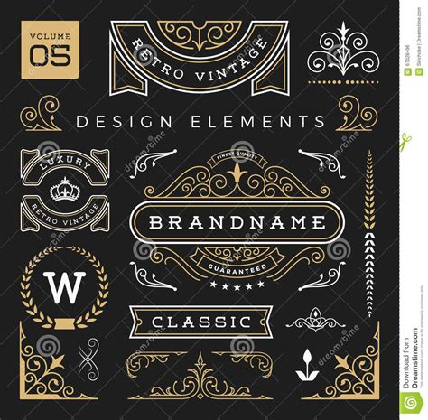 vintage graphic design elements vector set of retro vintage graphic design elements stock photo