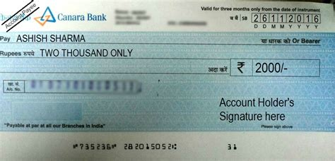 cheque bank account how to write a cheque in canara bank self account payee