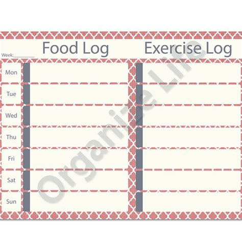 printable food and exercise journal 9 best images of printable exercise log etsy printable