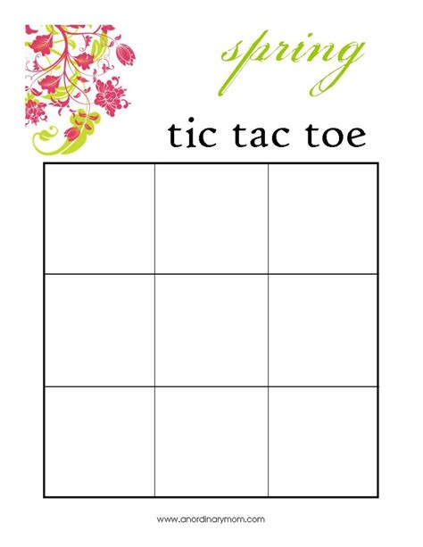 tic tac toe template tic tac toe printable summer