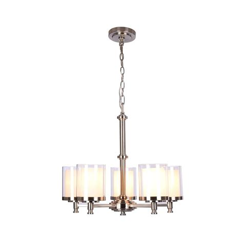 Glass Light Shades For Chandeliers Hton Bay Burbank 5 Light Brushed Nickel Chandelier With Glass Shades 19703 000 The Home Depot