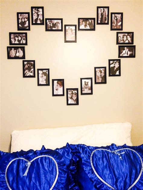 bedroom wall picture collage diy wall heart picture collage dads day pinterest