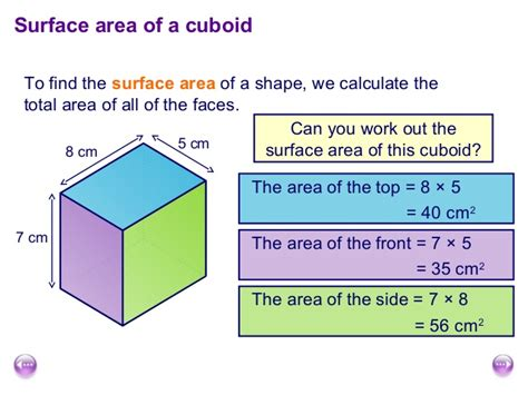Find Out Where Work Surface Area And Volume Of Cuboids