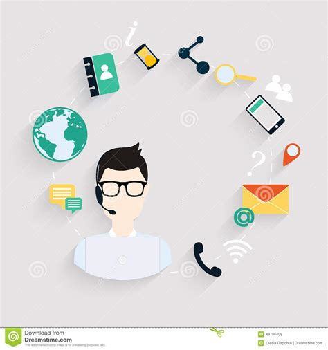 bank of america help desk business customer care service concept flat icons set