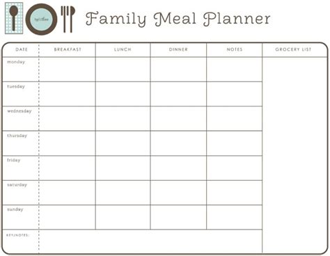 family meal plan template 25 best ideas about family meal planner on