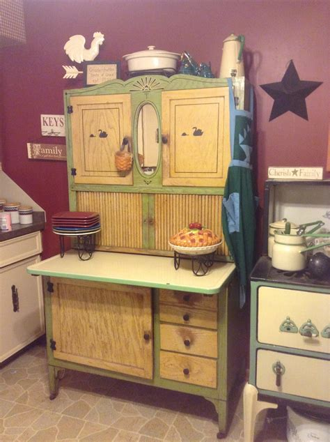 antique cream kitchen cabinets cream and green oak hoosier cabinet vintage pinterest