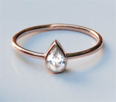 14k gold ring tear drop ring solitaire ring