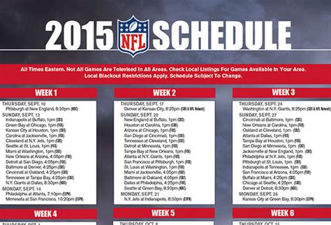 printable nfl playoff schedule 2015 game times free printable 2015 nfl tv schedule