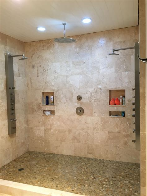 create your own pebble shower floor