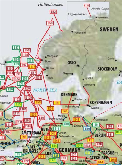 norway sweden  denmark pipelines map crude oil
