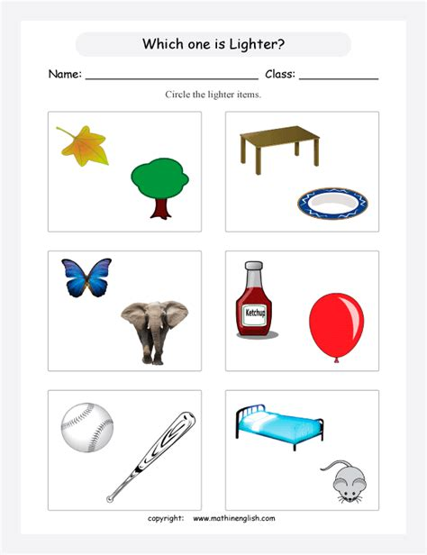 which objects are lighter and which objects are heavier