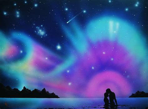 National Geographic Wall Mural love by the aurora borealis painting by thomas kolendra