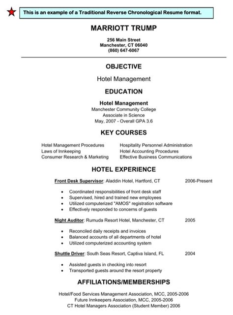 Reverse Chronological Resume Example by Download Traditional Reverse Chronological Resume Format