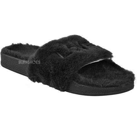 cushioned slippers womens fur slides sliders slippers comfort