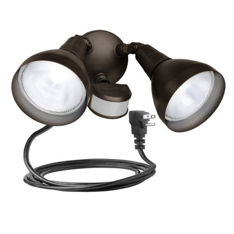 plug in outdoor security light brinks 240 degree 2 head plug in motion activated security