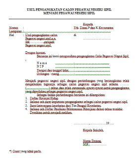 Surat Dinas Pegawai Negeri by Format Surat Usul Pengangkatan Cpns Menjadi Pns