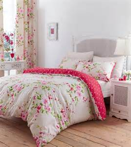 Cotton single pink red rose floral reversible shabby duvet amp curtains