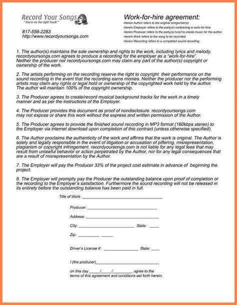 work for hire agreement template 7 sle work for hire agreement template purchase