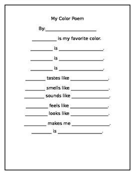 color poem template color poem template by constance cosmas teachers pay