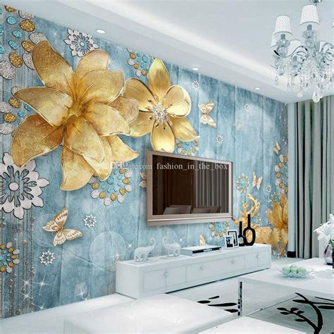 Custom Mural Wallpaper For Bedroom Walls 3d Luxury Gold Jewelry Wa luxury golden flower wallpaper custom 3d wallpaper for walls elk wall mural bedroom
