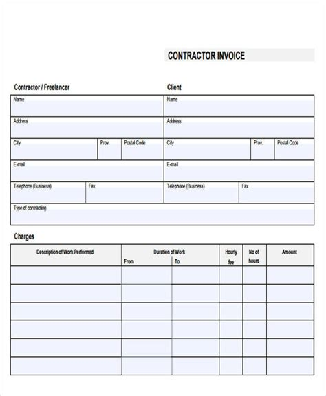 18 Free Contractor Invoice Sles Sle Templates Blank Contractor Invoice Template
