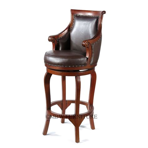 Real Leather Bar Stool Solid Mahogany Genuine Brown Leather Swivel Bar Stool Ebay