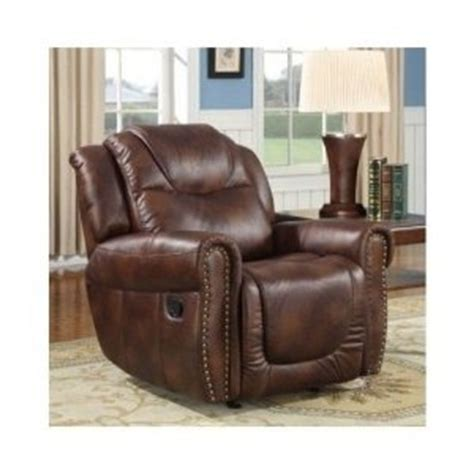 brown nail leather rocker recliner chair