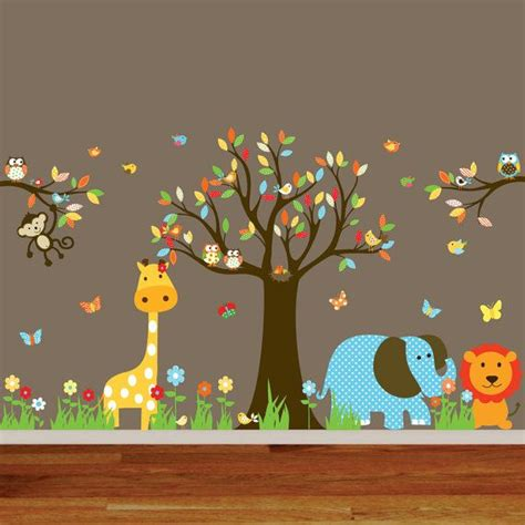 Jungle Safari Wall Decal Nursery Playroom Owl Tree Bird Safari Nursery Wall Decals